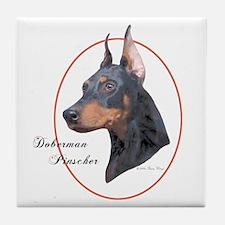 Doberman Pinscher Cameo Tile Coaster