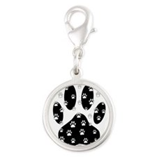 White Paws All Over Black Paw Print Charms