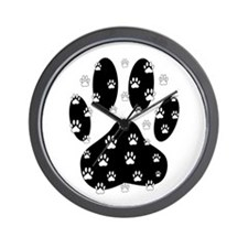 White Paws All Over Black Paw Print Wall Clock
