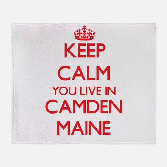 Keep calm you live in Camden Maine Throw Blanket