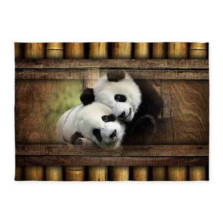 Panda Bear Love 5u0027x7u0027Area Rug