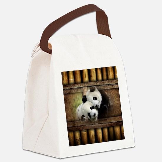 Panda Bear Love Canvas Lunch Bag