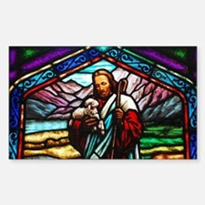 Stained glass image of Jesus with lamb Decal