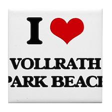 I Love Vollrath Park Beach Tile Coaster