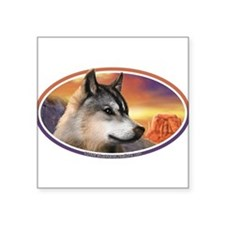 "Cute Wolf Square Sticker 3"" x 3"""