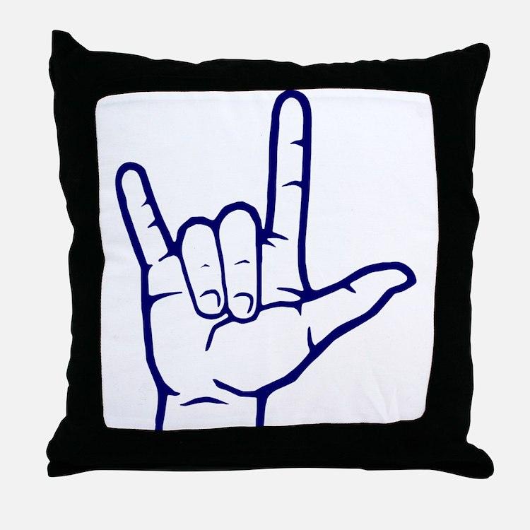 Dark Blue I Love You Throw Pillow