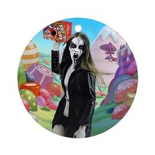 Goth Girl In Candyland 001 Ornament (Round)