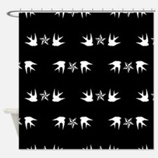 Sparrow and Stars Shower Curtain