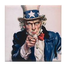 Uncle Sam I Want You Tile Coaster