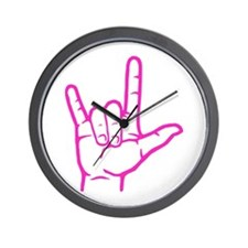Fuchsia I Love You Wall Clock