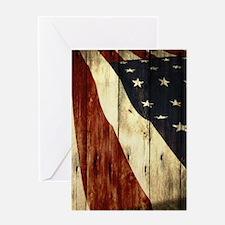 grunge USA flag American patriots Greeting Cards