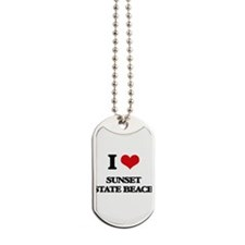I Love Sunset State Beach Dog Tags