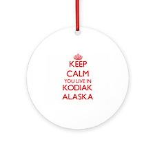 Keep calm you live in Kodiak Alas Ornament (Round)