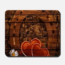 country love hearts horseshoe woodgrain Mousepad
