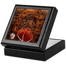 country love hearts horseshoe woodgra Keepsake Box