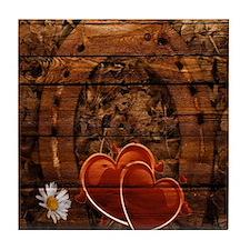 country love hearts horseshoe woodgra Tile Coaster