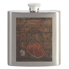 country love hearts horseshoe woodgrain Flask