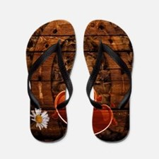 country love hearts horseshoe woodgrain Flip Flops