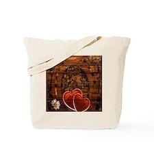 country love hearts horseshoe woodgrain Tote Bag