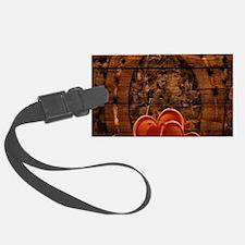 country love horseshoe woodgrain Luggage Tag