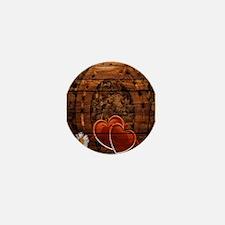 country love horseshoe woodgrain Mini Button