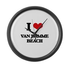 I Love Van Damme Beach Large Wall Clock