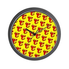 Cute Cheeky Lobster Red Yellow Designer Wall Clock
