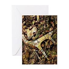 camouflage deer antler Greeting Cards