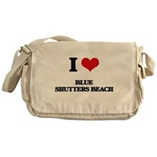 I Love Blue Shutters Beach Messenger Bag