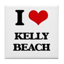 I Love Kelly Beach Tile Coaster