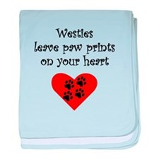 Westies Leave Paw Prints On Your Heart baby blanke
