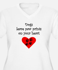 Dogs Leave Paw Prints On Your Heart Plus Size T-Sh