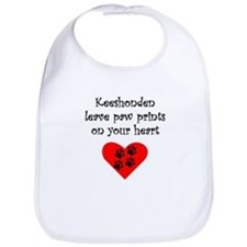 Keeshonden Leave Paw Prints On Your Heart Bib