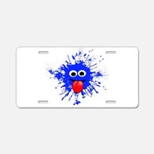Blue Splat Dude Aluminum License Plate