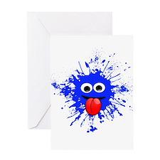 Blue Splat Dude Greeting Cards