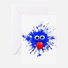Blue Splat Dude Greeting Cards
