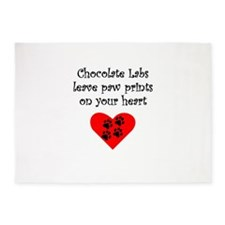 Chocolate Labs Leave Paw Prints On Your Heart 5'x7