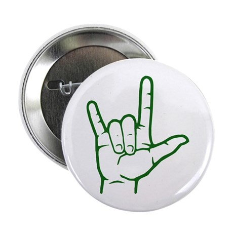 Green I Love You Button