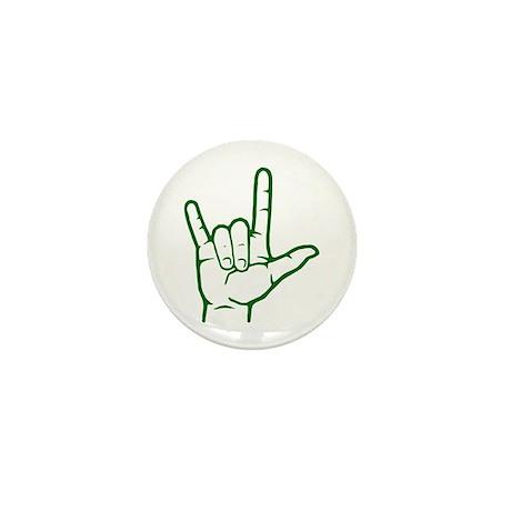 Green I Love You Mini Button