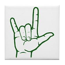 Green I Love You Tile Coaster