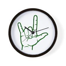 Green I Love You Wall Clock