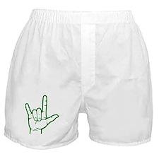 Green I Love You Boxer Shorts