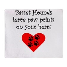 Basset Hounds Leave Paw Prints On Your Heart Throw