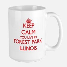 Keep calm you live in Forest Park Illinois Mugs