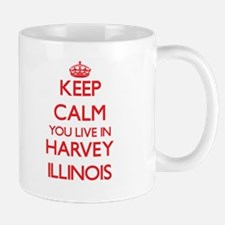 Keep calm you live in Harvey Illinois Mugs