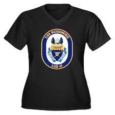 USS Rushmore Women's Plus Size V-Neck Dark T-Shirt