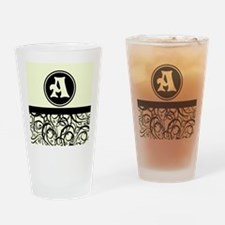 Black Personalized Monogram Initial Drinking Glass