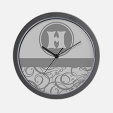 Gray Personalized Monogram Initial Wall Clock