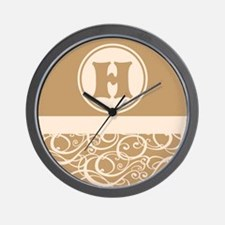 Beige Personalized Monogram Initial Wall Clock
