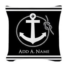 Black and White Nautical Rope Woven Throw Pillow